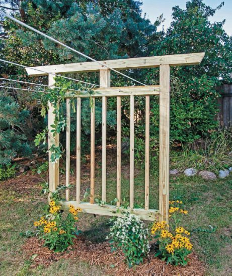 Homemade Clothesline that is also a Garden Trellis DIY Project