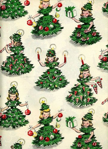 Fantastically cute 1950s Christmas tree girl wrapping paper