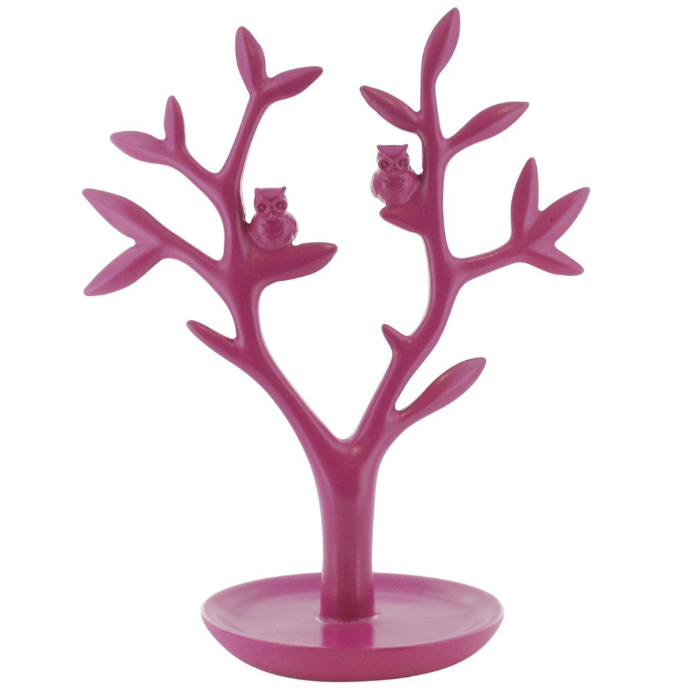 A pink jewellery tree with tray from our Hootsweet collection featuring 2 little owls, exclusive at Paperchase.