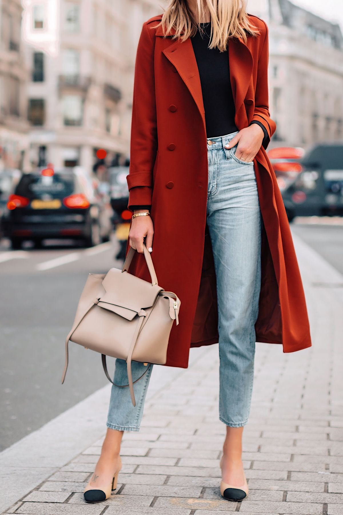 Woman Wearing Red Trench Coat Black Top Relaxed Jeans Outfit Chanel Slingbacks Celine Mini Belt Bag Fashion Jackson San Diego Fashion Blogger London Street Style #rainydayoutfitforwork