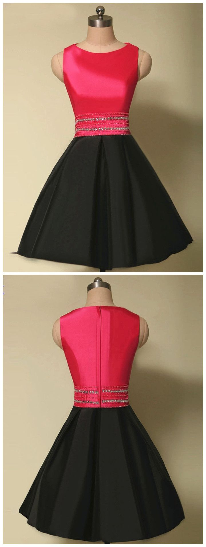 Cute aline homecoming dressesmini length black prom dressessatin