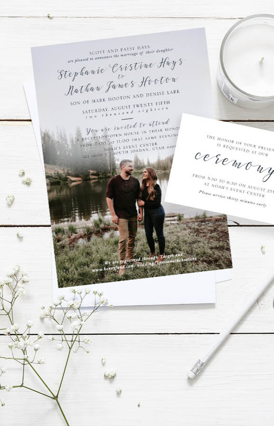 Photo Wedding Invitation Forest Invitations Suite Front And Etsy Photo Wedding Invitations Wedding Invitations With Pictures Simple Wedding Stationery