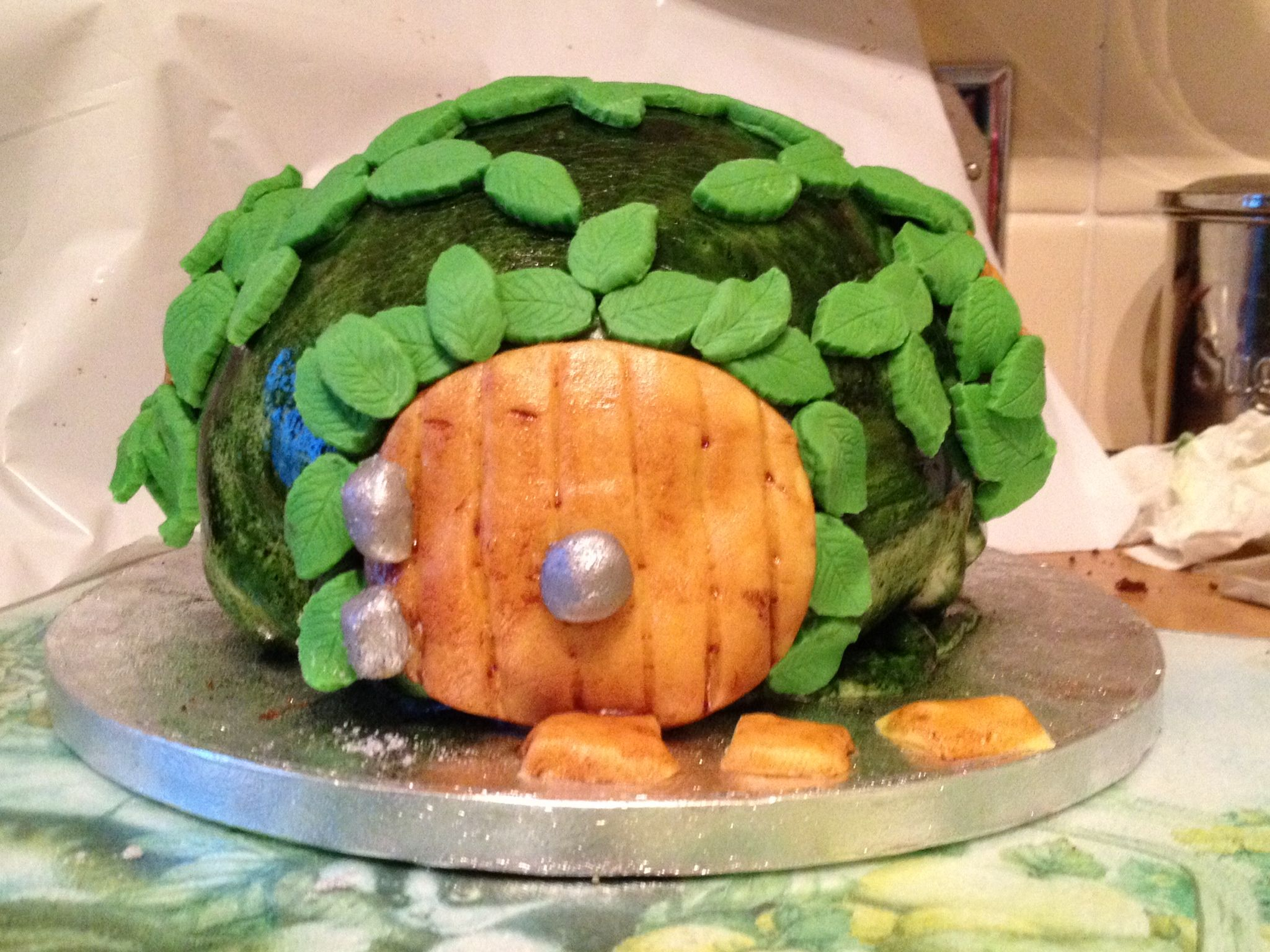My humble and hurried attempt at a Hobbit house cake!