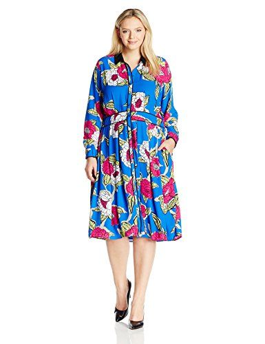 Melissa McCarthy Seven7 Womens Plus Size Buttondown Pleated Dress Dazzling Blue ComboStamp Floral 1X >>> More info could be found at the image url.