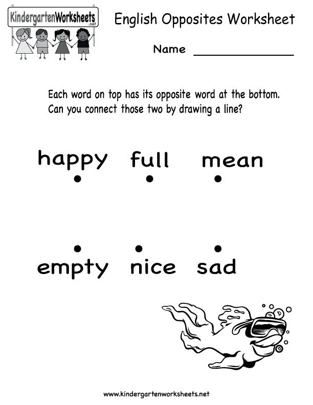 Kindergarten English Opposites Worksheet Printable Worksheets