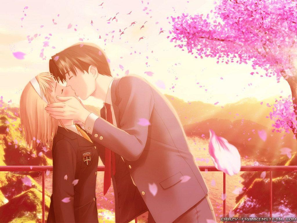 Anime Couple Love Kiss Hd Wallpaper Anime Love Anime Love Couple Cartoon Kiss