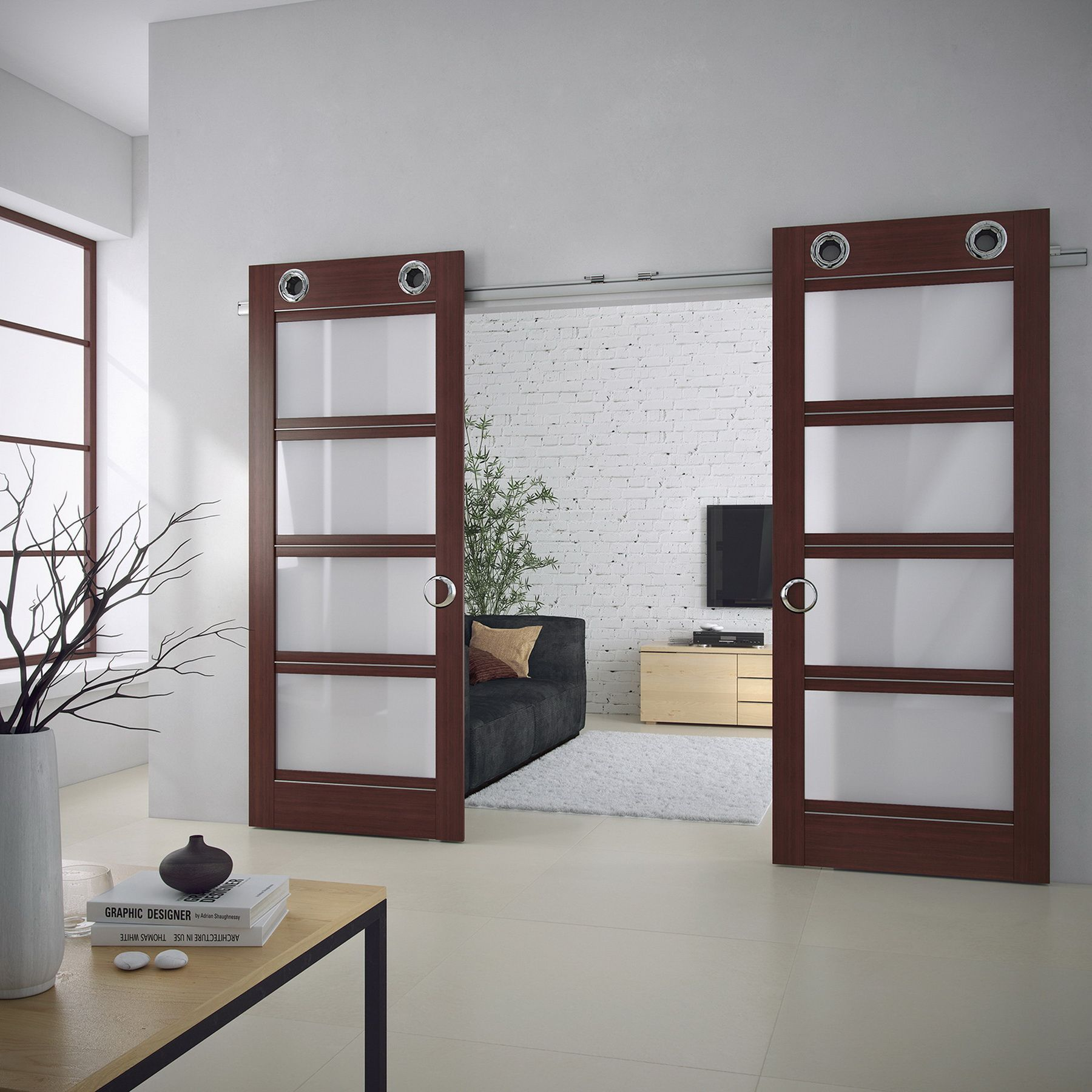 Gorgeous Double Door Sliding Panels with glass in Mahogany Finish