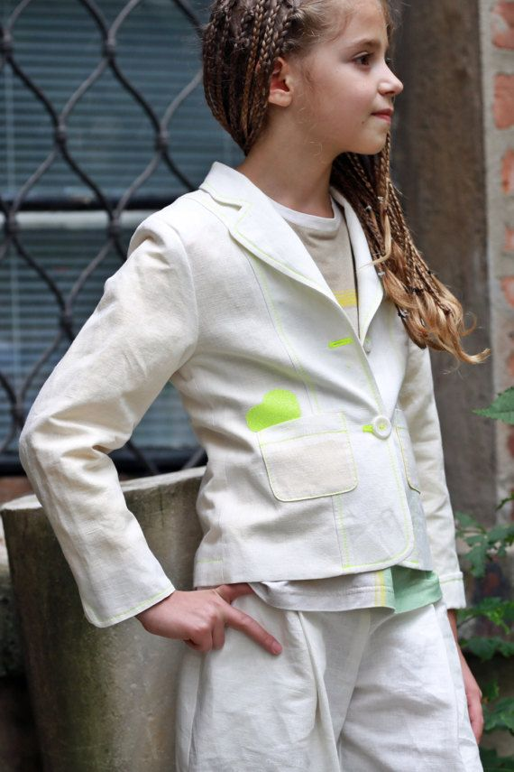 1f7b591cb8d9 White linen blazer for girls Kids slim fit blazer Casual white linen ...