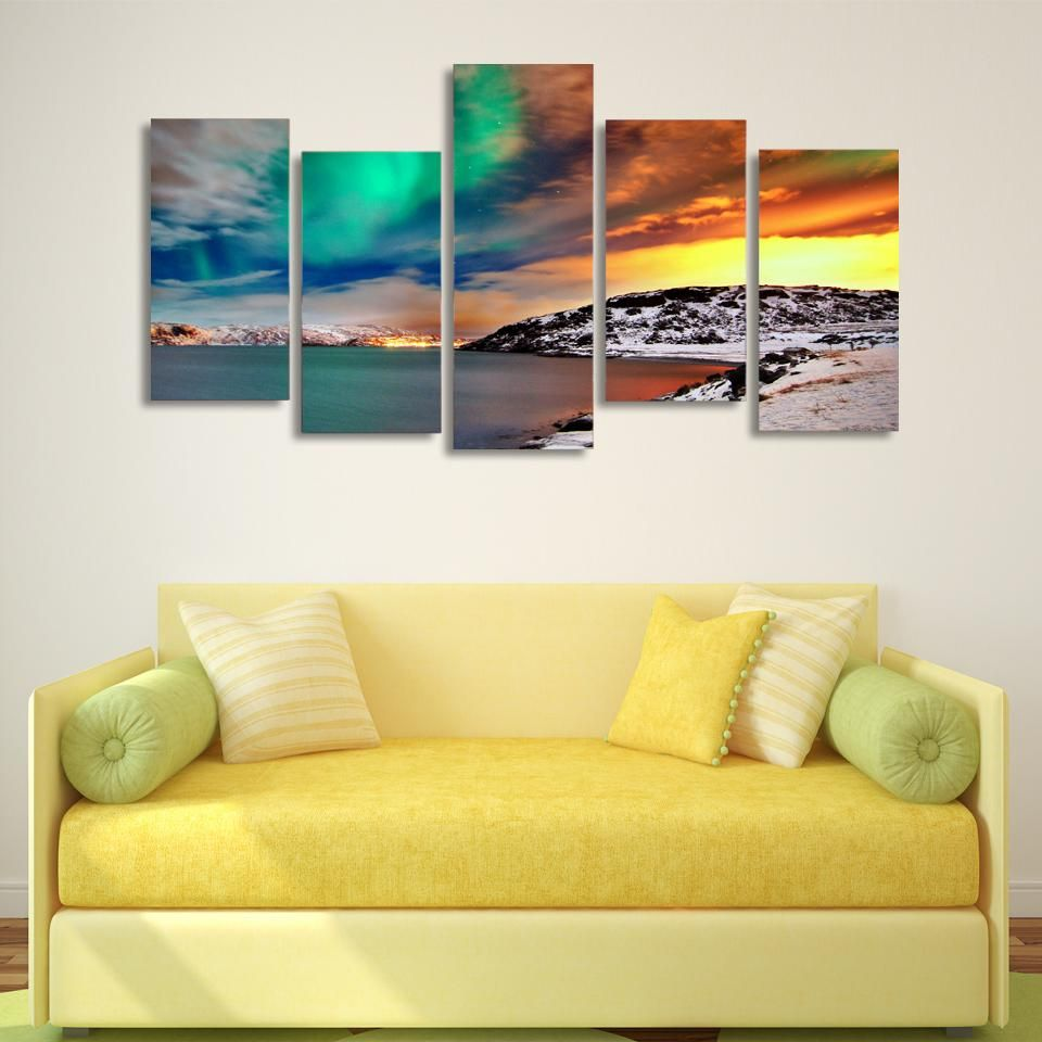 HD 5 piece canvas printed nordic snow mountain Aurora Painting on ...