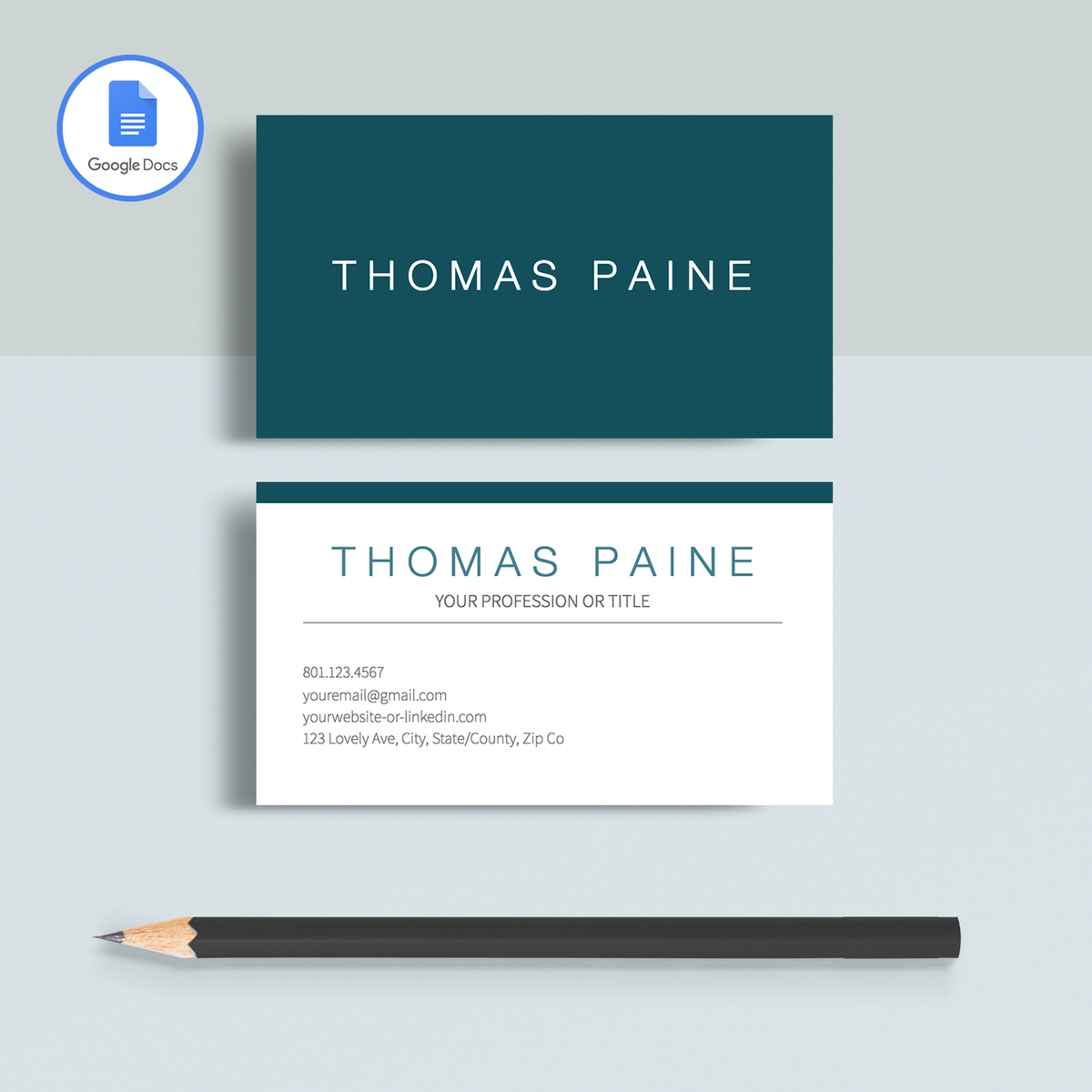 The Thomas Paine Professional Business Cards Template Is Fully A Customizable Using Google Docs