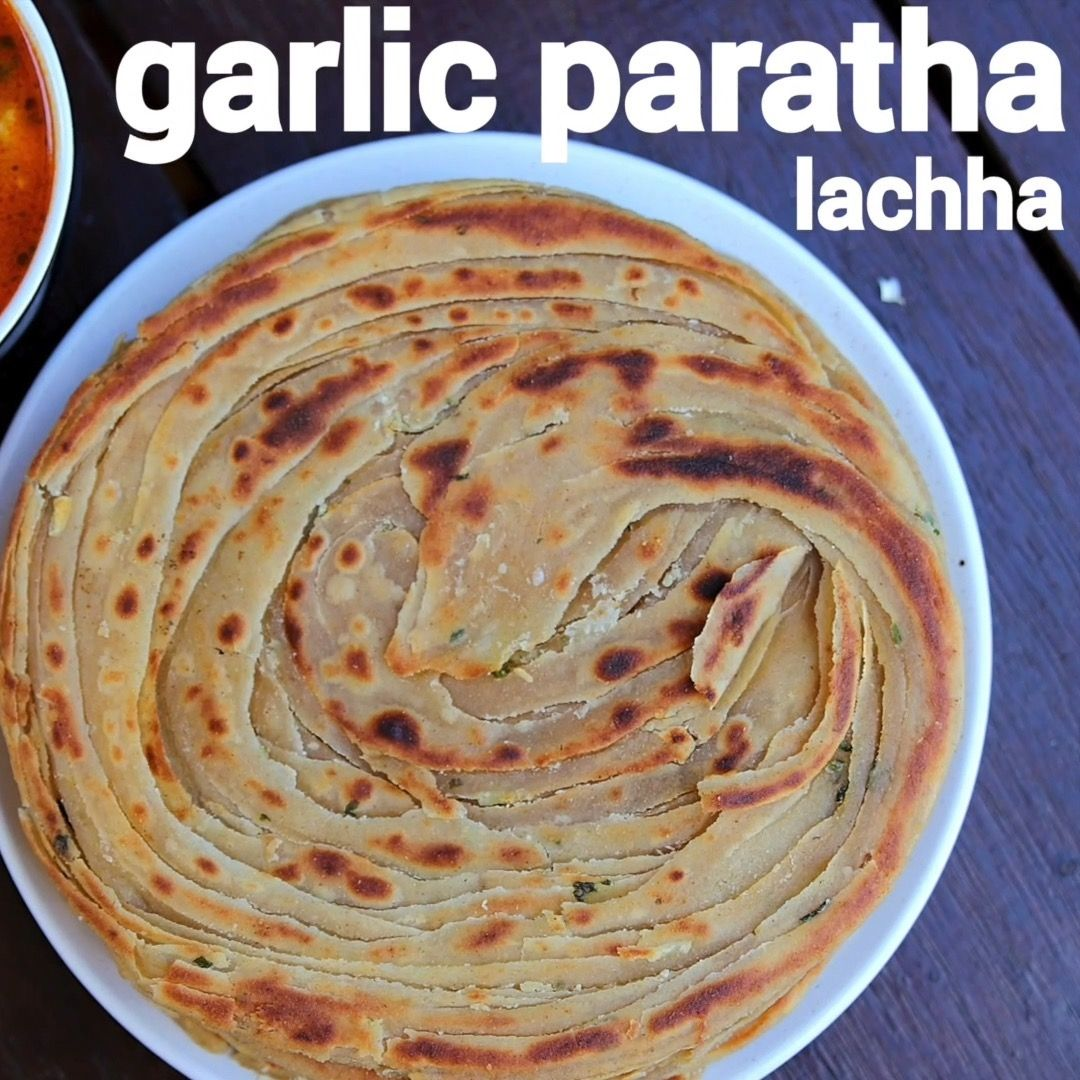 lachha garlic paratha recipe garlic lachha paratha parantha bread indianflat baked on hebbar s kitchen recipes laccha paratha id=52380