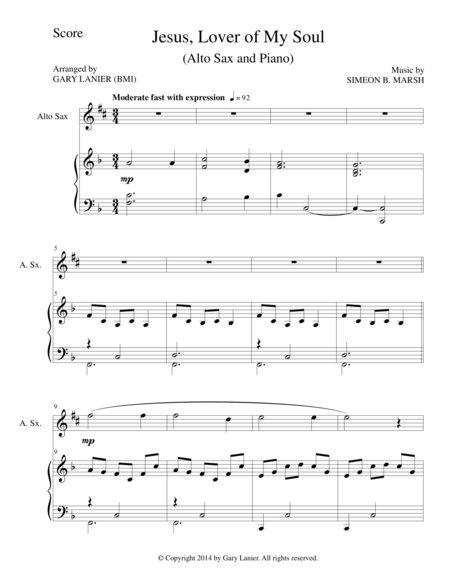 Jesus Lover Of My Soul Alto Saxpiano And Sax Part Sheet Music
