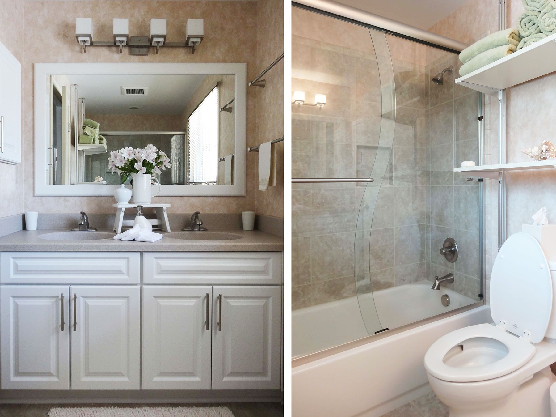 A Beautiful Ann Arbor Small Bathroom Remodel Featuring Onyx Countertops In Cucino Medallion Cabinetry Winterberry And Heathland Ceramic Shower