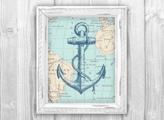 Nautical Map Anchor Art Print Nautical Beach House