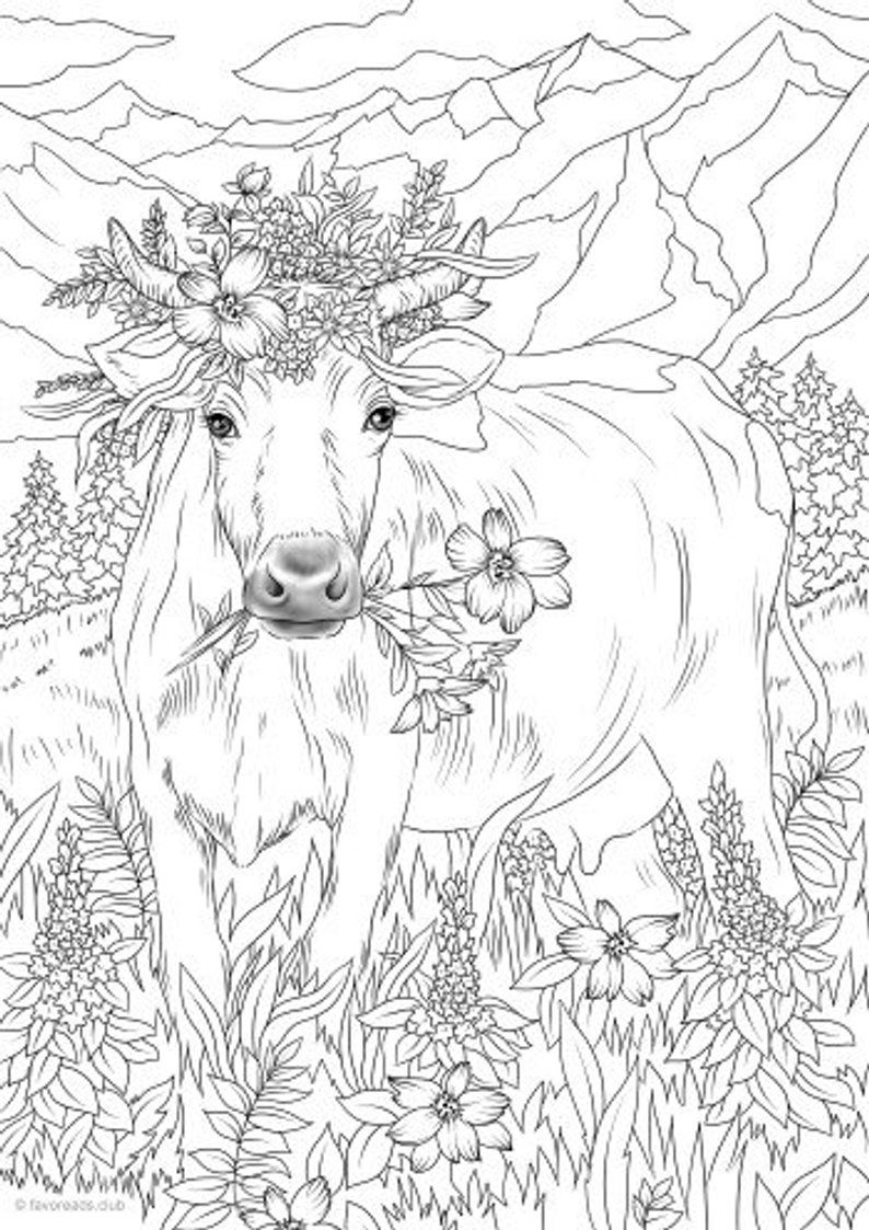 Cow in Flowers - Printable Adult Coloring Page from ...