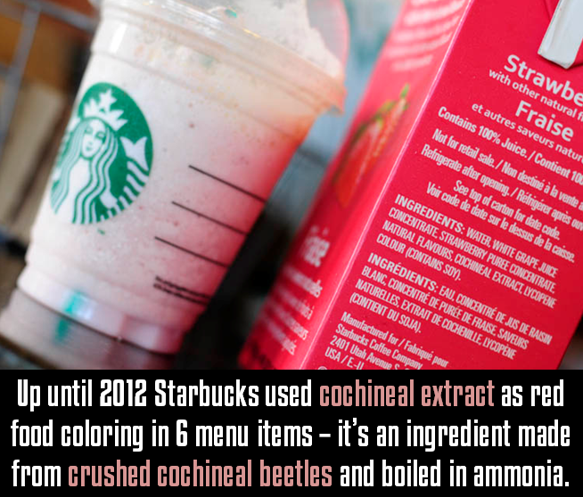 Up until 2012 Starbucks used cochineal extract as red food coloring ...