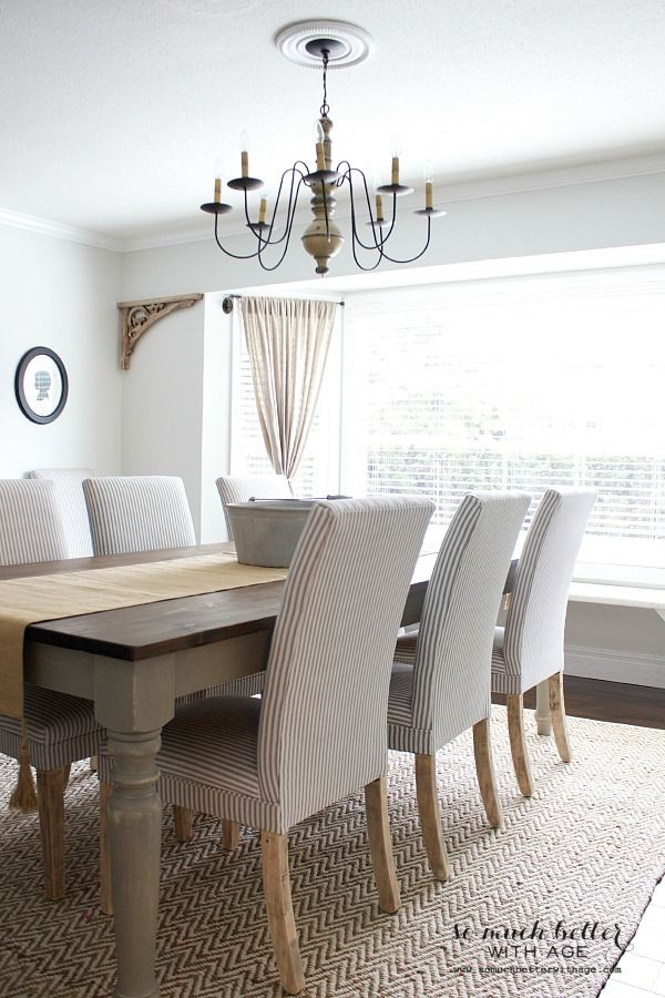 Dining Room Farm Table With Parsons Chairs And A Wonderful Rustic Chandelier