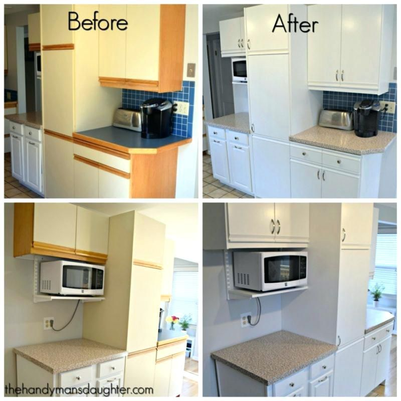 Refinishing Melamine Kitchen Cabinets: Painting Laminate Kitchen Cabinets Before And After Uk