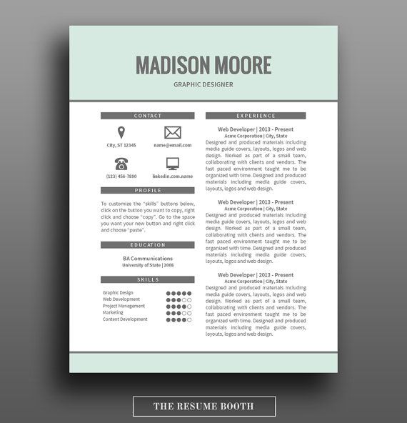 Resume Template   Page Resume Design  Free Cover Letter  Diy