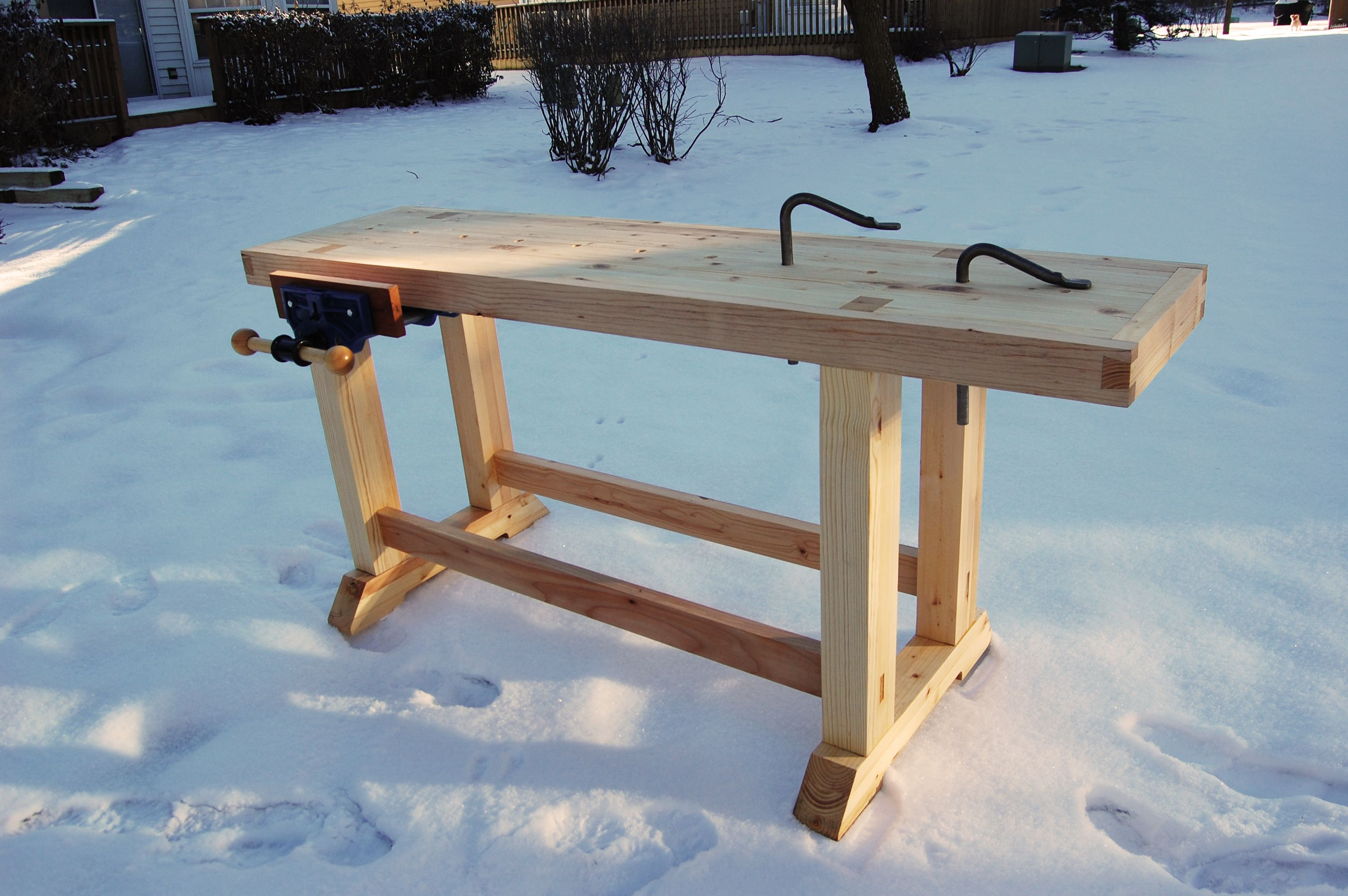 Woodworking Bench With 9 Vice And Holdfast Holes