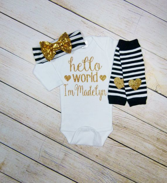 Personalized baby girl gift hello world black gold by mamabijou personalized baby girl gift hello world black gold by mamabijou negle Choice Image