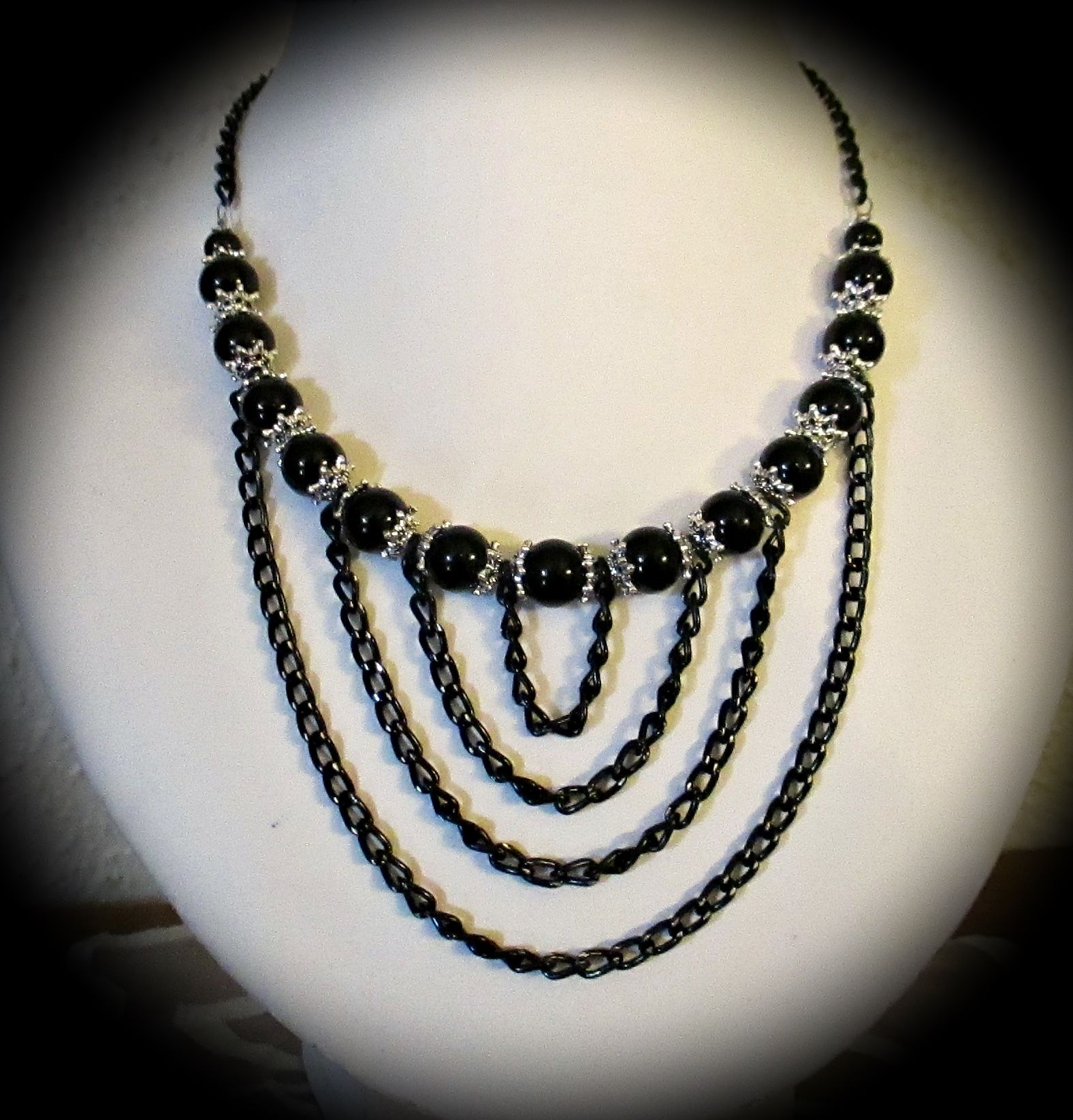Black beads and black Chain necklace :-)