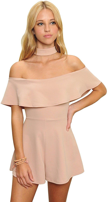 df00d6ed6fc5 Women s Pink Strapless Off Shoulder Choker Neck Romper Jumpsuit ...