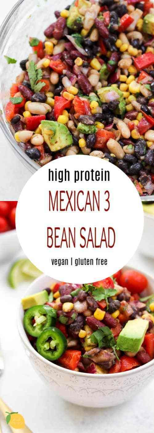 Mexican Three Bean Salad This high protein three bean salad is a Mexican style salad with tons of health benefits! It's a healthy vegan salad recipe that is also gluten free.