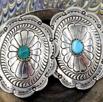 4f127af8d Big Sterling Silver turquoise concho earrings #vintageearrings  #turquoiseearrings #southwesternstyle