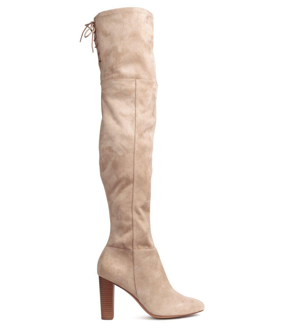 Overknee laarzen   Lichtbeige   Dames   H&M NL   Lieslaarzen