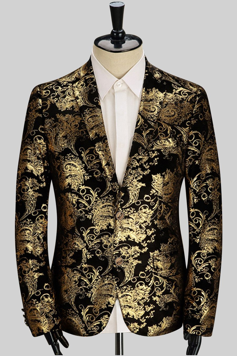 Add an interesting element to your work wardrobe with this golden floral  printed sport jacket. This light grey suit coat is overlaid ... 1d7bb0e05ce6