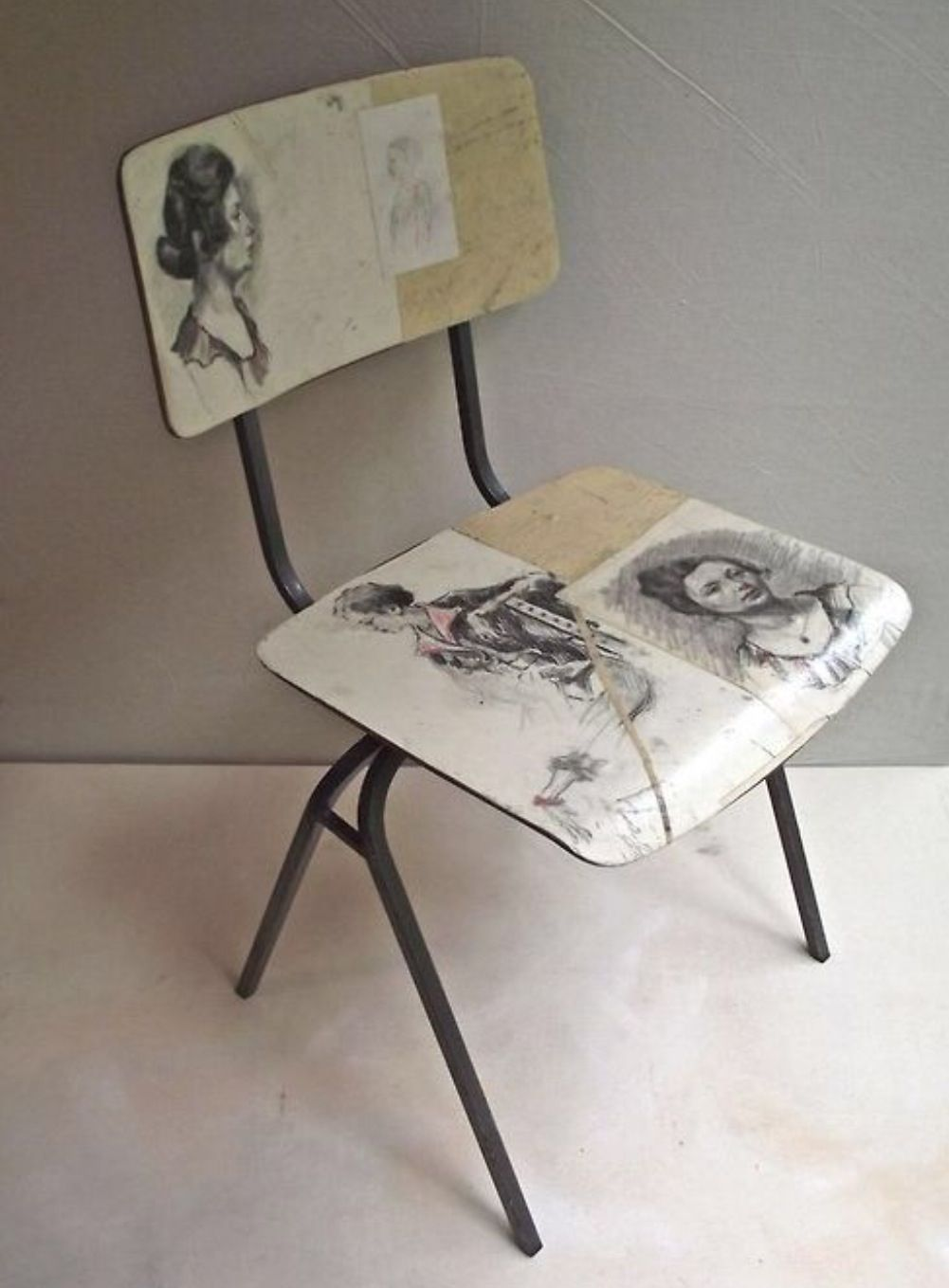 Vintage prints photocopied and decoupaged onto a modern chair--great way to channel the past into the present!