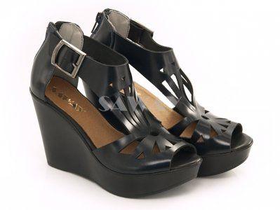 Saway Sandaly Damskie Czarne Koturn Skora Wloska Shoes Wedges Fashion