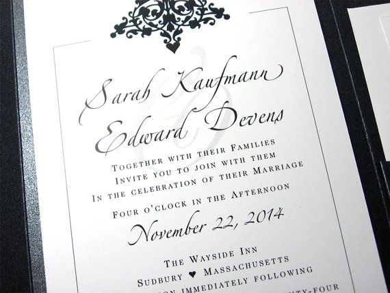 Traditional Elegant Wedding Invitations: Elegant Wedding Invitation Black And White Classic Damask