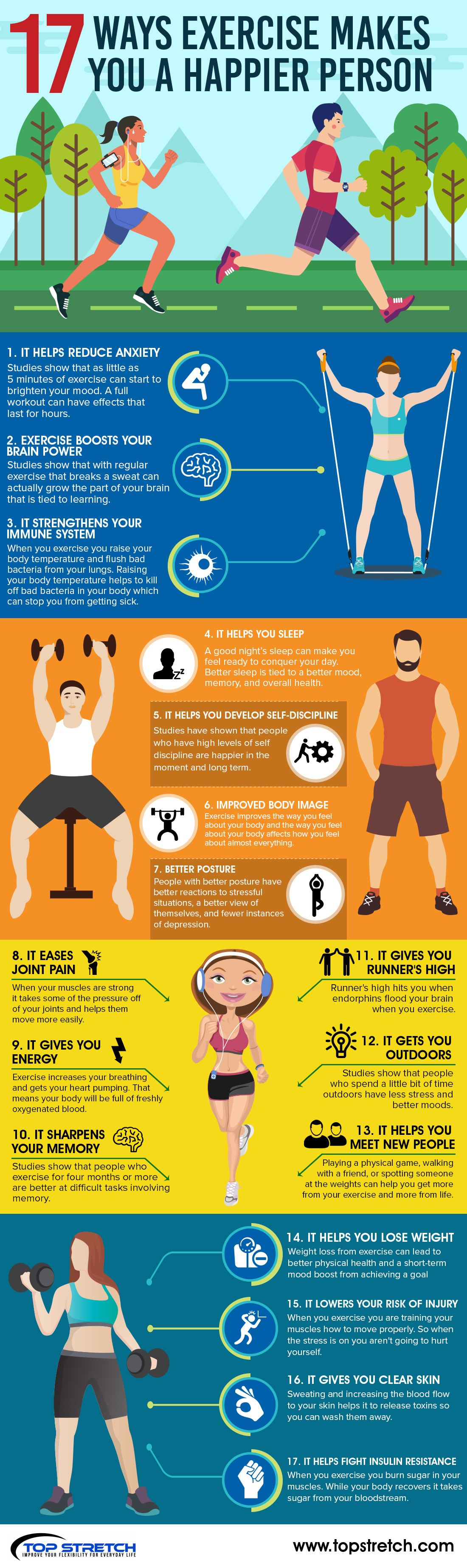 17 Ways Exercise Makes You a Happier Person #Infographic
