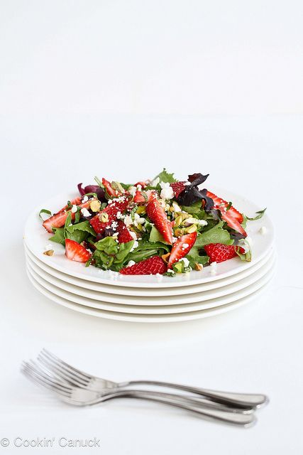 Strawberry, Pistachio, Feta Cheese  Basil Salad Recipe | cookincanuck.com #salad #recipe