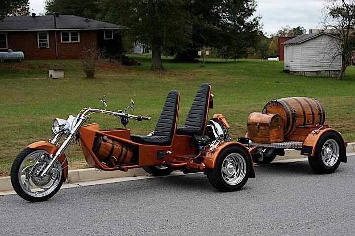 Barrel trailer with trike.