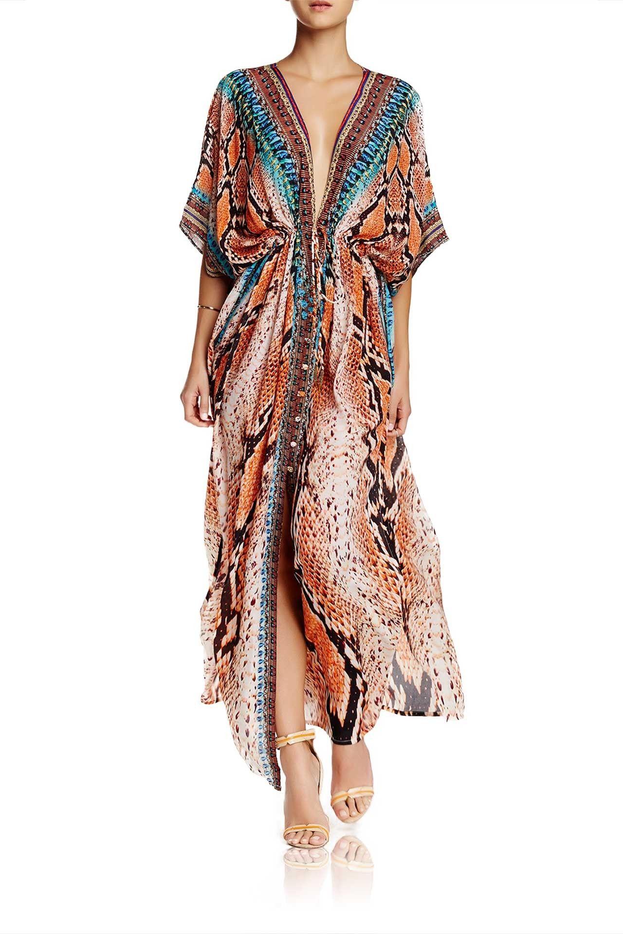 0cedcd6a30d Brown Snakeskin Kaftan Cover Up - Designer Women's Clothing ...
