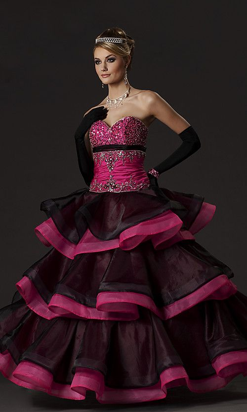 Black and Pink Quinceanera Dress Picture | Presentation ...