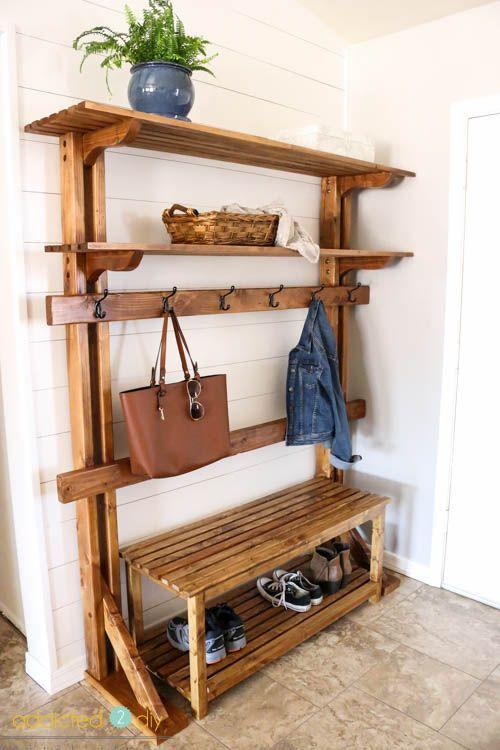 Pottery Barn-Inspired Rustic Hall Tree | Muebles madera, Entrada y ...