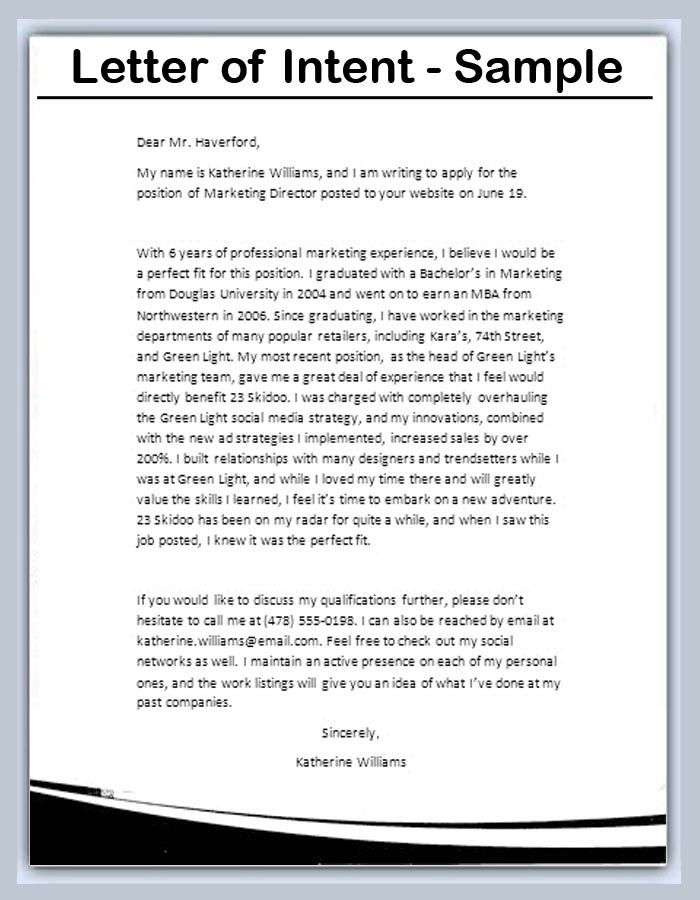 Letter Of Intent Templates - sarahepps -