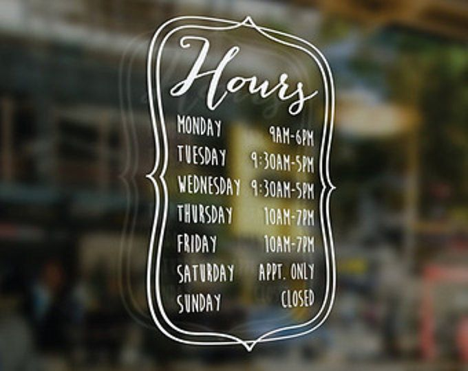 Pretty Hours Window Decal Custom Size And Color Business Shop - Window decals custom business