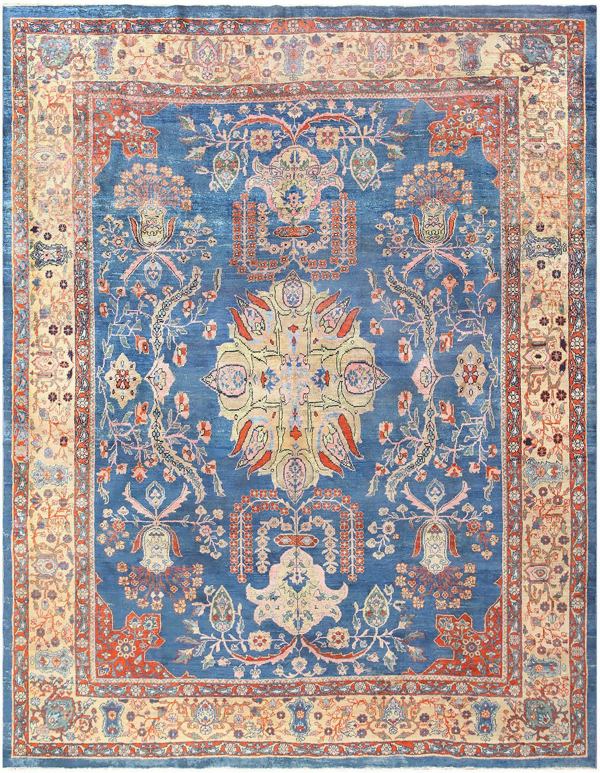 Orange And Blue Antique Persian Farahan Rug 48725 Beautiful Blues