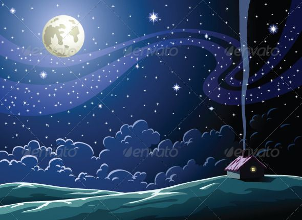 Cartoon Clouds Dark Home House Landscape Milky Way Moon Nature Night Sky Space Stars Vector Village Free Art Prints Starry Night Village Drawing