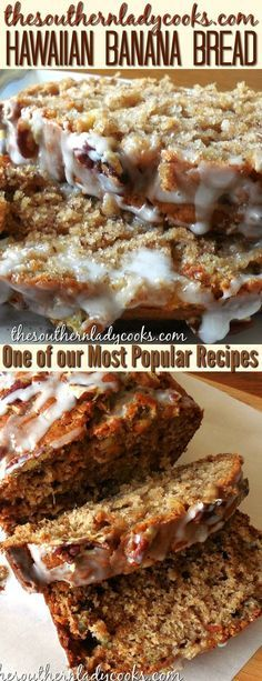 Hawaiian banana bread is an easy recipe that is delicious with your morning coffee or make it anytime for a family treat. One of our most popular recipes. Makes a great gift and good to take to any event. #Hawaiian #bananas #bread #delicious #gift #coffee #food #baking #treats #easyrecipes #recipes #holidays #hawaiianfoodrecipes