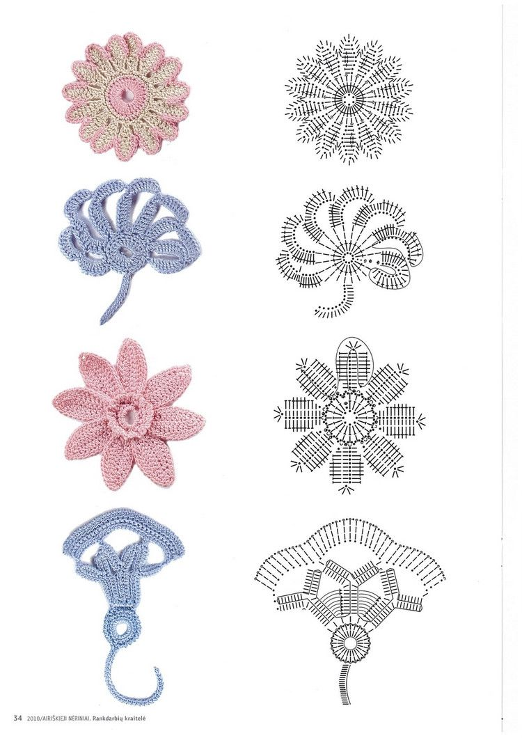 patrones+motivos+crochet. Crochet flowers diagrams | Crochet ...