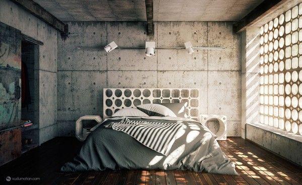 Idées Décoration chambres à coucher modernes Industrial bedroom