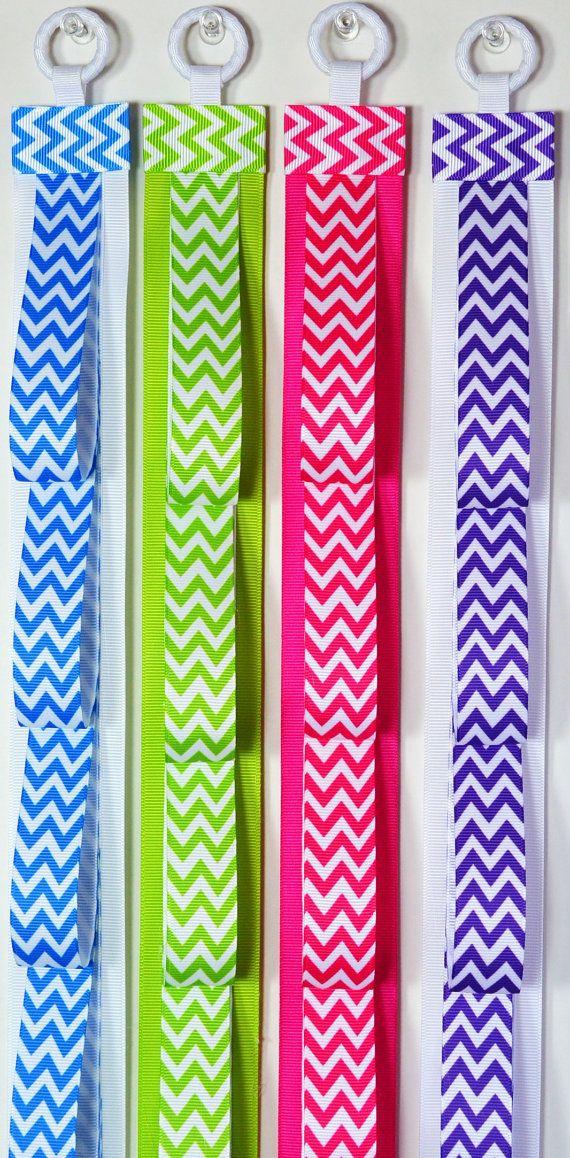 Headband Holder Wall Hanging Chevron Print Ribbon Design