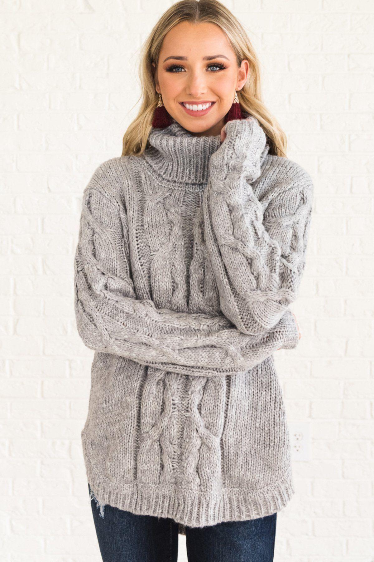 d219497b9da Gray Warm Cozy Cute Long Turtleneck Cable Knit Sweaters for Women