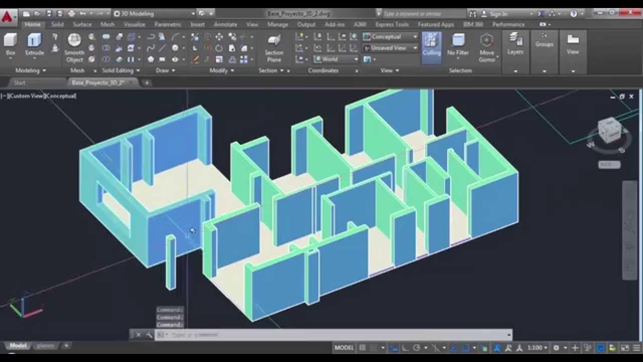 Modelado de casa en 3d con autocad parte ii autocad 3d - Planos en 3d de casas ...